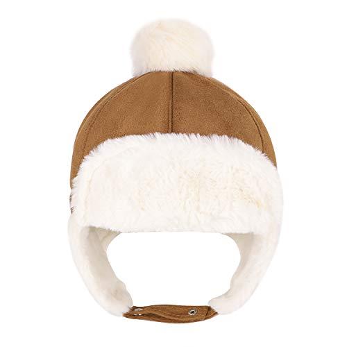 Sombrero unisex para niño, gorro ruso deportivo, esquí, snowboard, equitación, pasamontañas de piel sintética, sombrero, sombrero de piel sintética beige 56 cm