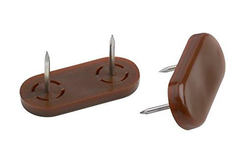 Metafranc Möbelgleiter 45 x 20 mm - Kunststoff - Mit Nagel - braun - 4 Stück - Verdrehsicher - Geeignet für den Außenbereich / Möbelgleiter-Set für unempfindliche Böden / Kunststoff-Gleiter / 644706