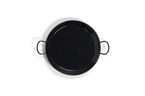 La Valenciana 10 cm, emaillierter Edelstahl Pfanne aus Spanien, Paella Schüssel, Hocker, schwarz, 42 cm