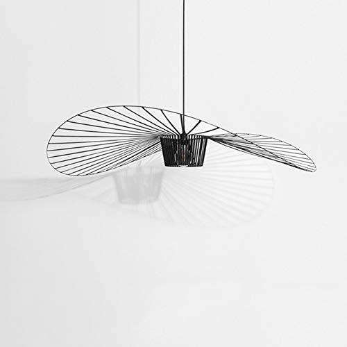 Lámpara Colgante Vintage Para Sala De Estar, Lámpara Colgante, Simple Creativo (altura De La Luz Ajustable), Diseño De Sombrero De Fibra De Vidrio + Tela De Fibra E27 Max 40W (100cm, Black)