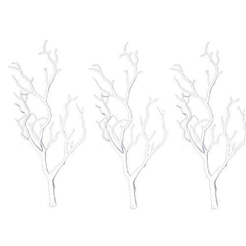 Vorcool 3 Stück künstliche Zweige getrocknete Bäume aus Kunststoff, künstliche Äste mit echten Pflanzen, Hörner aus Holz, in Form eines Zweiges für die Dekoration (weiß)