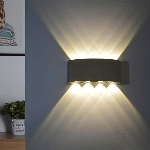 LED Wandleuchte Innen Warmweiß, LED Wandlampe Außen 8W Wasserdicht IP65 Modern Up Down Leuchte Wandlicht aus Aluminium Wandbeleuchtung für Bad Flur Kinderzimmer Treppenhaus Wohnzimmer