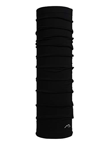 Merino.tech Merino Wool Neck Gaiter - Mask Neck Warmer for Men & Women (Black)