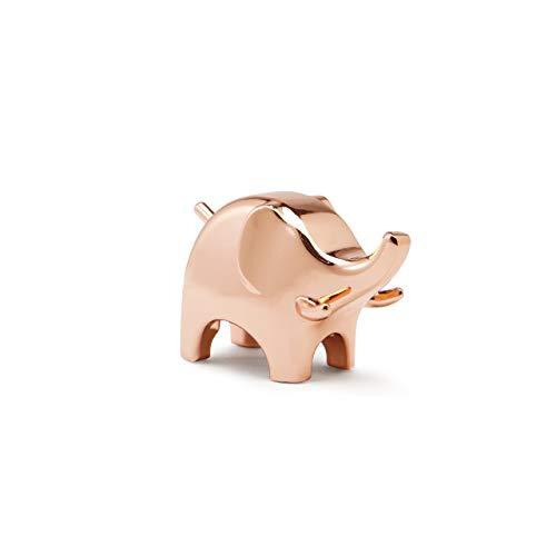 Umbra Anigram Elefanten Ringhalter – Moderne Ringablage, Ideales Gastgeschenk, Metall / Kupfer