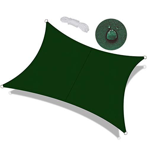 OKAWADACH Toldo Vela de Sombra Rectangular 2 x 4m, protección Rayos UV Impermeable para Patio, Exteriores, Jardín, Color Verde Oscuro