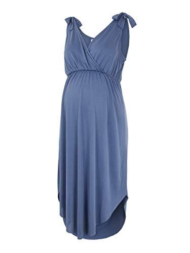 MAMALICIOUS Mama Licious Damen Still-Kleid Bindeschleifen XSBlue Indigo