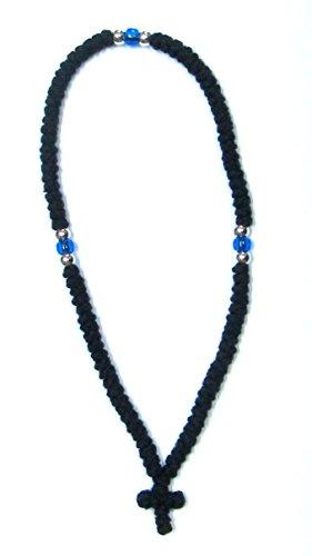 Komboskoini-Gebetskette, handgefertigt, christlich-orthodox, 100Knoten, Wollkette, Schwarz