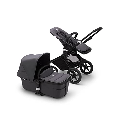 Bugaboo Fox 2 Kinderwagen – Zusammenklappbarer Babywagen mit vielfältigen Fächern & Guckloch im Sonnenverdeck – Von der Geburt bis zum Kleinkindalter – in Schwarz - Stahlblau