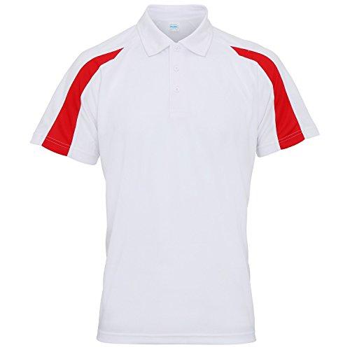 AWDis Just Cool - Polo à manches courtes - Homme (2XL) (Blanc arctique/Rouge feu)