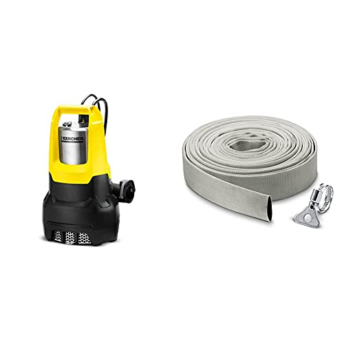 Kärcher SP7 Dirt Inox pompe d'évacuation eau chargée & 2.997-100.0 KIT TUYAU PLAT EN TEXTILE 10M ET COLLIER DE SERRAGE, Gris