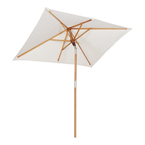 Sekey® 200 × 150 cm Holz-Sonnenschirm Marktschirm Gartenschirm Terrassenschirm Sonnenschutz UV50+ Creme Quadratisch