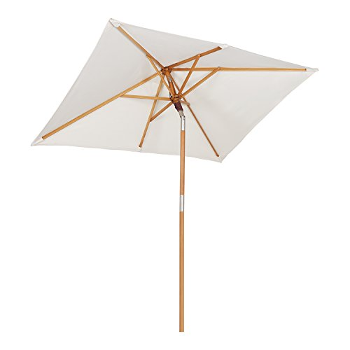 Sekey® 200 × 150 cm Holz-Sonnenschirm Marktschirm Gartenschirm Terrassenschirm Sonnenschutz UV50+ Creme Rechteckig