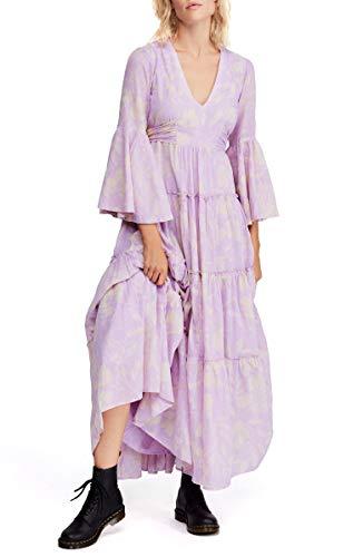 Free People Carmen TIE Back Maxi Dress (Purple Combo) (S)