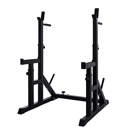 rack stands Tengma Adjustable Squat Rack Stands Dipping Station Barbell Rack Dip Stand Fitness Bench Press Equipment Home & Gym Durable Heavy Duty Power Weight Support 330Lbs Max Load