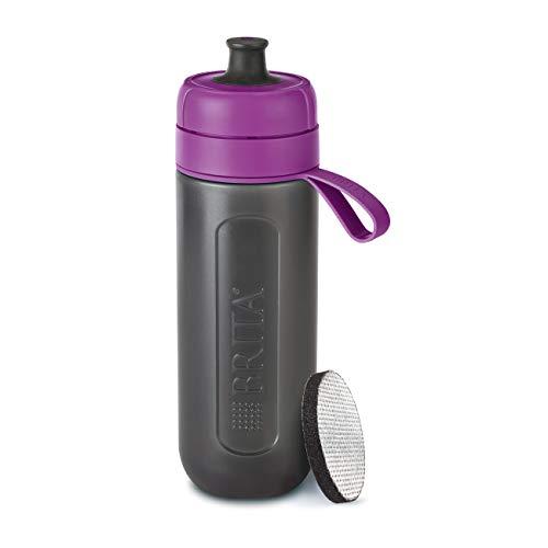 BRITA Wasserfilter-Flasche fill&go Active Lila – Robuste Sport Trinkflasche mit Wasserfilter für unterwegs aus BPA-freiem Kunststoff – Zusammendrückbar