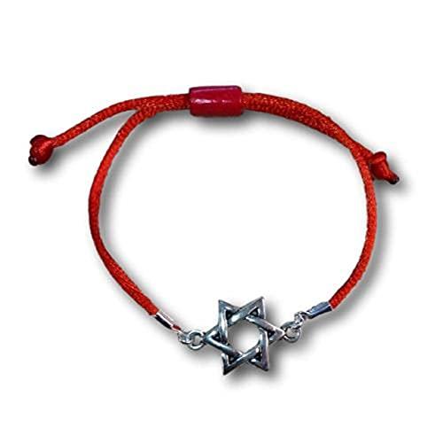 Pulsera cordón Seda con Estrella DE David en Peltre. Nudo corredizo. (Rojo)