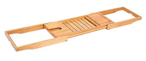 Internet's Best Bamboo Bathtub Caddy - Extending Adjustable Sides - Reading Tray - Wine Glass Holder - Smart Phone Slot - Wood Bath Tray