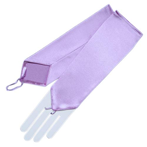 ZAZA BRIDAL Stretch Satin Fingerless Gloves Below-The-Elbow Length 8BL-Lavender