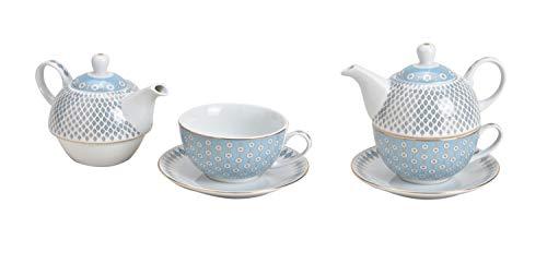 Tea for One - Juego de té con diseño retro en color azul claro (tetera, taza, platillo)