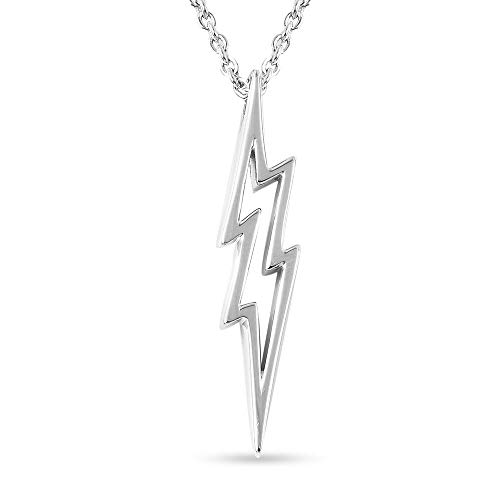 LUCY Q Silver Thunderbolt Necklace for Womens Shinny 925 Sterling Stamped High Gloss Plain Solid Designer Jewellery