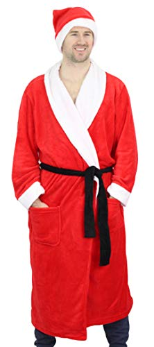 Secret Santa Adult Christmas Bathrobe & Hat - Santa Claus (One Size Fits Most) Red