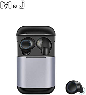 M&J Bluetooth 5.0 Headphones True Wireless Earphone TWS Sport Earbuds Stereo Earphone IPX5 Waterproof for Xiaomi Earphones (grey)
