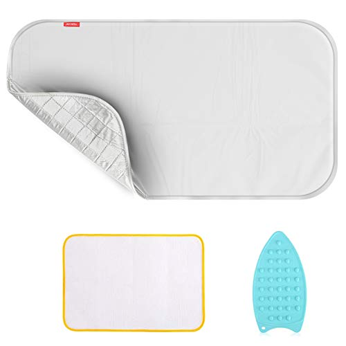 Upgraded Thick Ironing Mat,Travel Ironing Blanket Ironing Pad,Portable Double-Side Using,Heat Resistant Pad Cover for Washer,Dryer,Table Top,Countertop,Ironing Board for Small Space (22 x 47 inch)