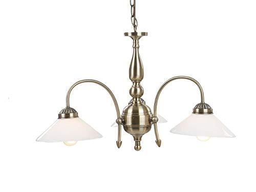 Rústico Lámpara colgante con 3luces E27ledes, latón envejecido/Pantallas de lámpara cristal