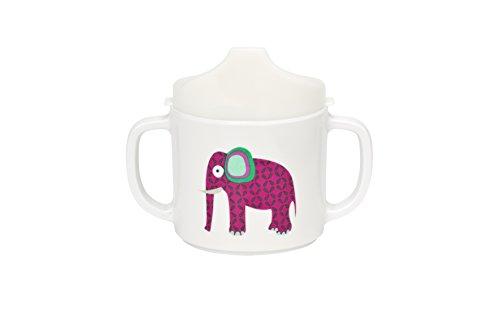Lässig LDISHCS186 2-Handle Sippy Cup with Lid & Silicone Tazza per Imparare a Bere, 6+ Messi, Multicolore (Elefante)