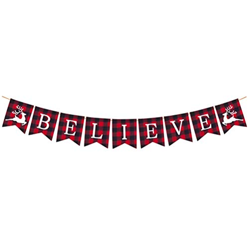 BESTOYARD Christmas Banners Believe Letter Fabric Red Plaid Bunting Garland Hanging Holiday Xmas Party Supplies Decorations Photo Props