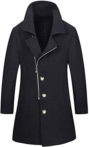 Unbekannt Manteau en Laine pour Homme - pour l'automne et l'hiver - Coupe ajustée - Manteau Parka Trenchcoats Noir Noir Medium