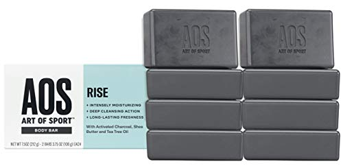 Art of Sport Body Bar Soap (8-Pack), Rise Scent, with Activated Charcoal, Tea Tree Oil, and Shea Butter, for Shower or Hand Soap, 3.75 oz