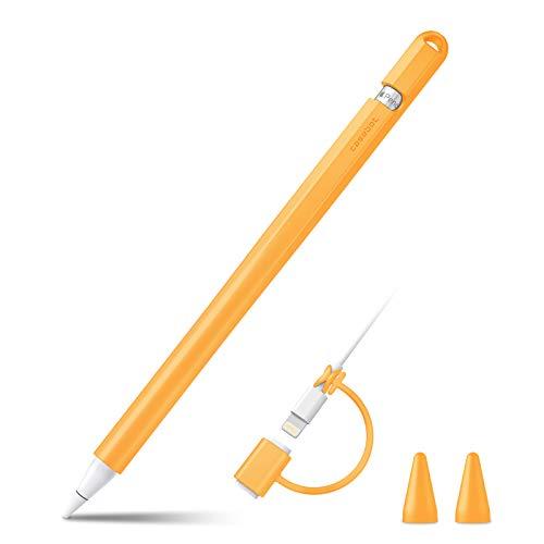 Fintie Silikon-Schutzhülle für Apple Pencil 1. Generation, ultraleicht, weiche Schutzhülle für iPad Pencil mit 2 Federn, Kabel-Adapter-Halteband, Orange
