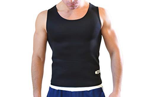 Ofbos® - Camiseta adelgazante de neopreno para hombre, efecto sauna, sudoración, yoga, pilates, running, fitness, Hombre, Negro , XX-Large