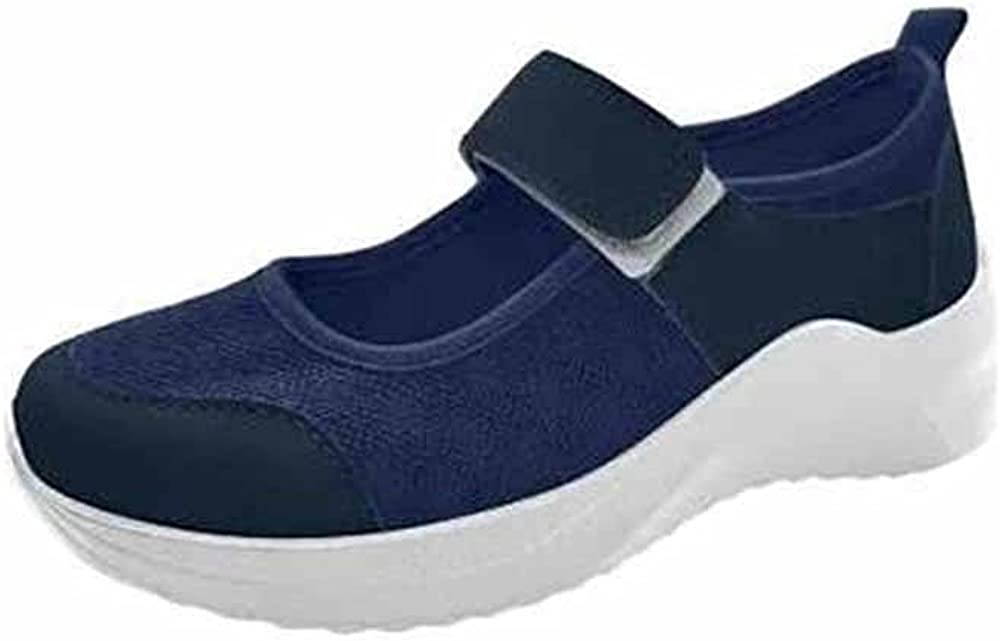 2021 New Womens Casual Breathable Cutout Mesh Walking Shoes, Fashion Comfort Hook-and-Loop Thick-Sole Walking Shoes
