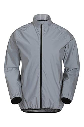 Mountain Warehouse 360 Reflective Mens Jacket - Water Resistant Unisex Rain Jacket, Breathable, Front Pockets, Full Zip Rain Coat -Best for Cycling & Running Silver L