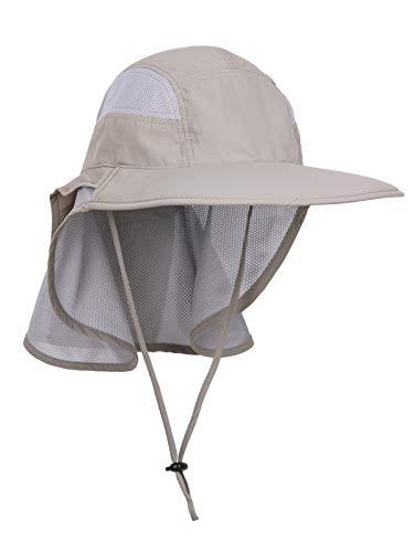 WANYING Unisex UV Schutz Sonnenhut mit Nackenschutz 12cm Großer Brim Outdoor Aktivitäten - für Kopfumfang 56-62cm Upgrade Stoffe Khaki-Grau