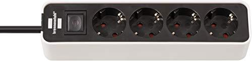 Brennenstuhl Ecolor Steckdosenleiste 4-fach (Steckerleiste mit Schalter und 1,5m Kabel) schwarz/weiß