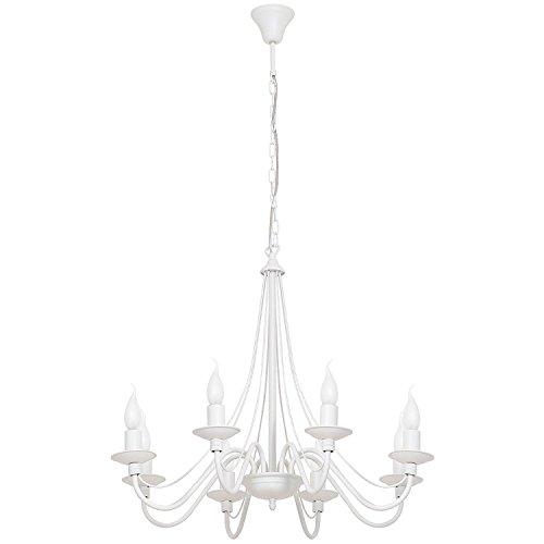 Kronleuchter Weiß Metall 8-armig E14 Rustikal opulent ROSABELLA Esstisch Wohnzimmer Lampe Hängeleuchte