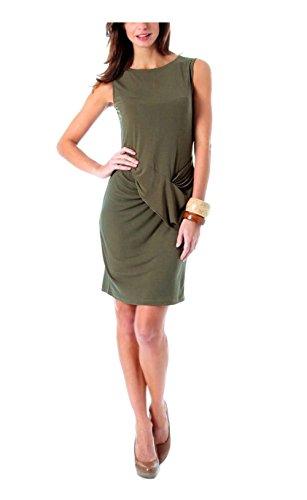 Vivance Collection Damen-Kleid Jerseykleid mit Drapierung Oliv Größe 44