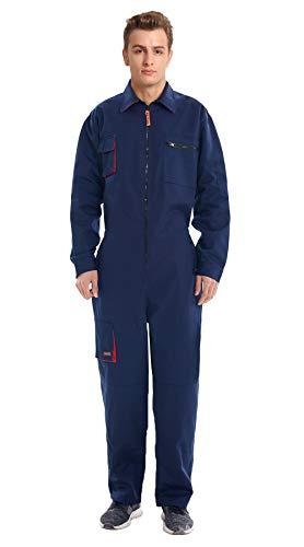 Oralidera Tuta da Lavoro da Uomo Multitasche Salopette da Lavoro Policotone Pantaloni da Lavoro Impermeabile (L, Blu navy)