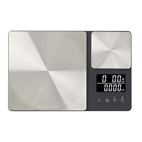 KitchenAid KQ909 Báscula digital de cocina con plataforma doble, capacidad de 11 libras, color neg