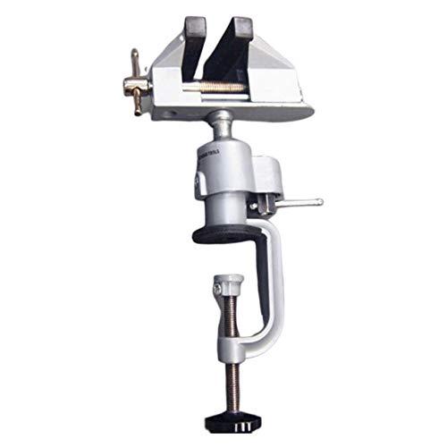 Peanutaor Étau Multifonctionnel en métal à Rotation à 360 degrés avec étau de Table, broyeur électrique, Paquet Professionnel Petit et Pratique + Argent