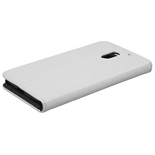 PhoneNatic Kunst-Lederhülle kompatibel mit Lenovo Moto E3 - Book-Hülle weiß + 2 Schutzfolien