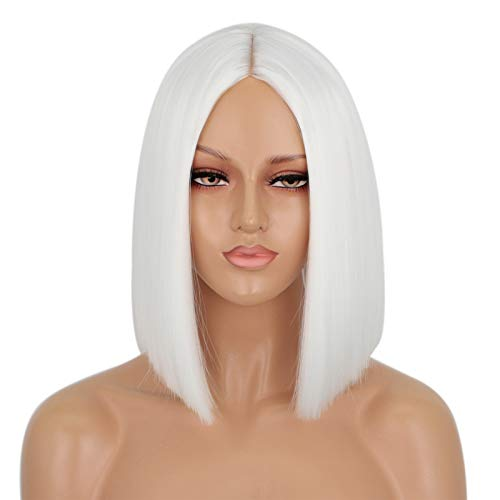 ENTRANCED STYLES White Wig, Heat Resistant Synthetic Straight Bob Wigs, 12Inch Middle Part Bob Wigs for Women and Ladies Cosplay Party Halloween Gift