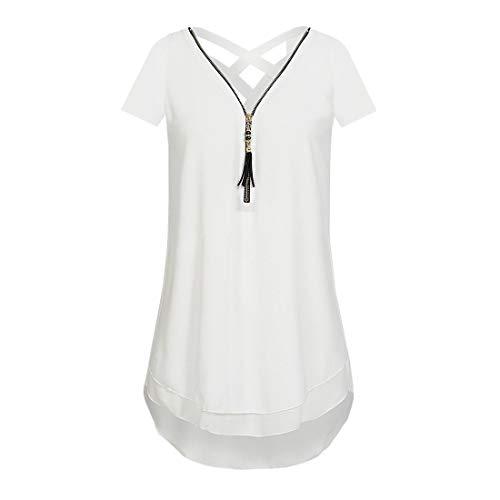 Camiseta de Mujer Blusa de Gasa Camisa de Manga Larga con Frontal Sexy con Cuello en v Tops sin Mangas con Cruzada sin Mangas de Mujer con Escote Redondo, Entrenamiento Deportivo Camiseta sin Mangas