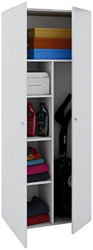 VCM Staubsauger Besenschrank Mehrzweckschrank Putzschrank Vandol | Auswahlmöglichkeiten: +Schublade / +Aufsatz Höhe 178 cm: Weiß