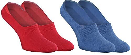 Rainbow Socks - Donna Uomo - Colorato Calze Barca Fantasmini in Cotone - 2 Paia - Rosso Blu Marino - Taglia 44-46