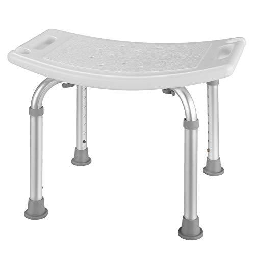 HAIRBY Stabiler Duschhocker Badhocker, 150kg, 38-55cm 8-fach höhenverstellbarer Duschstuhl für Behinderte, Senioren und ältere Menschen, Anti-Rutsch-Füße, Badestuhl aus Alu und Kunststoff