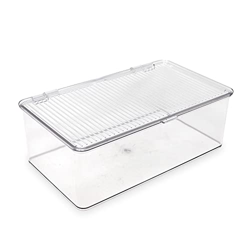 """Isaac Jacobs Medium Stackable Organizer Bin (10.75"""" x 6.5"""" x 3.7"""") w/ Hinged Lid, Clear Storage Box, Home, Office, School, Fridge, Bathroom, Kitchen, Pantry Container, BPA-Free, Food Safe (Medium, Clear)"""